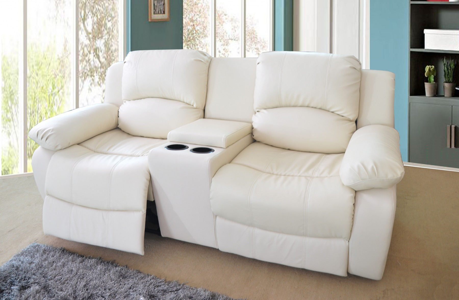 2 Seater Recliner sofa Fantastic 2 Seater Bonded Leather Recliner sofa with Drinks Console Cream Décor