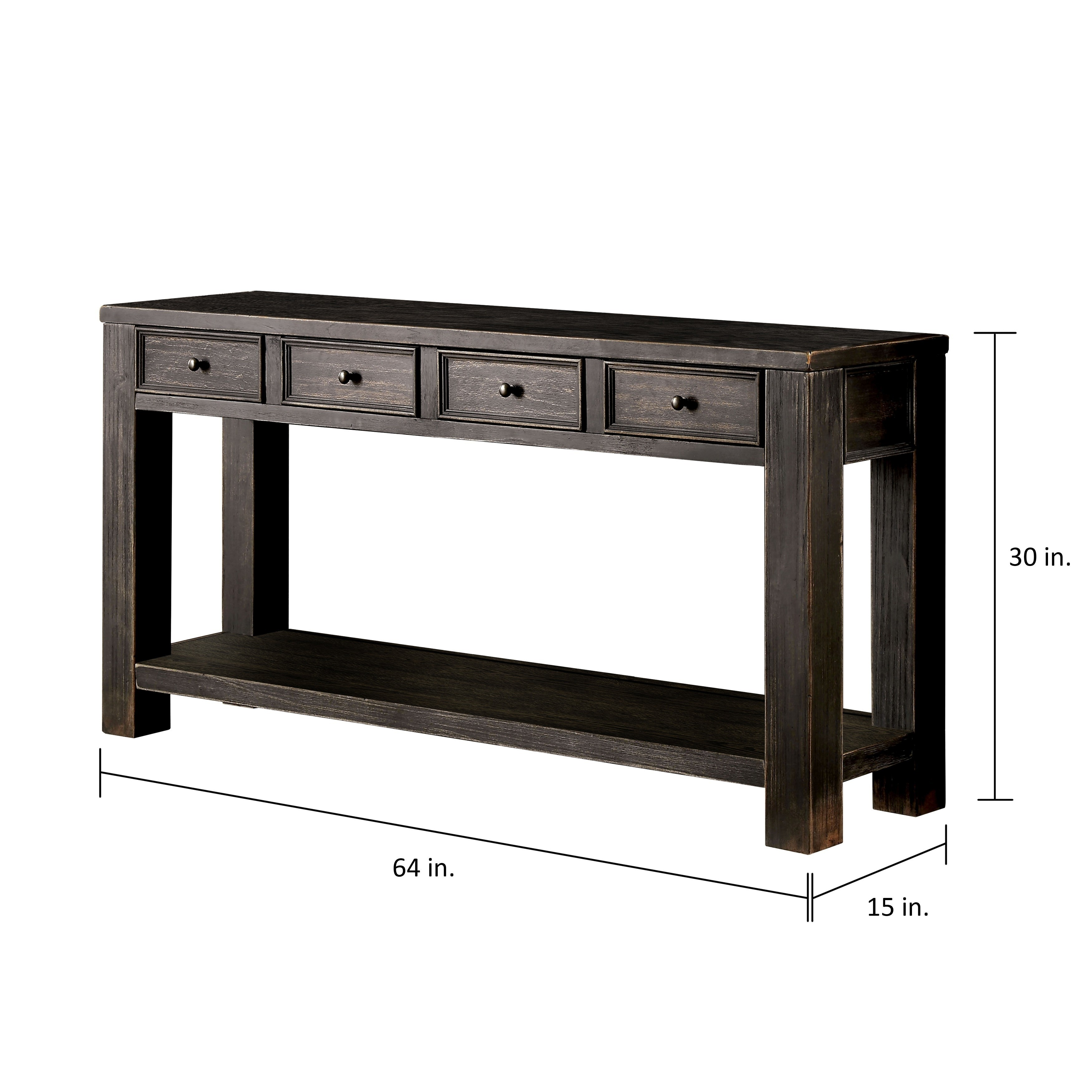 Black sofa Table Fascinating Furniture Of America Cosbin Bold Antique Black 4 Drawer sofa Table Portrait