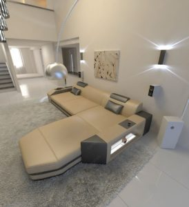 L Shaped sofa Stylish Modern L Shaped sofa Dallas with Led Lights Gallery