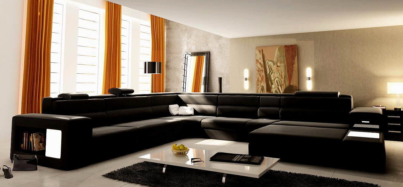 new modern black leather sofa model-New Modern Black Leather sofa Picture
