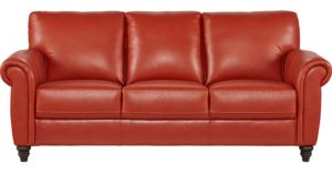 Orange Leather sofa Finest Lusso Papaya orange Red Leather sofa Classic Design