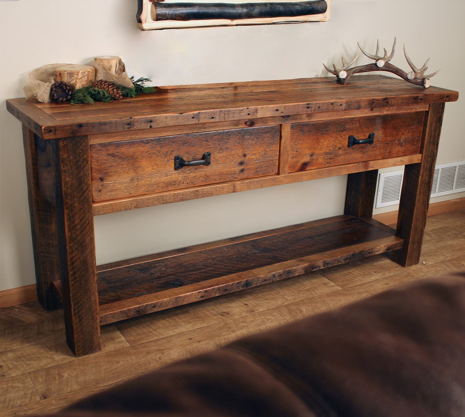 Rustic sofa Table Latest Old Sawmill Timber Frame sofa Table with Drawers Pattern