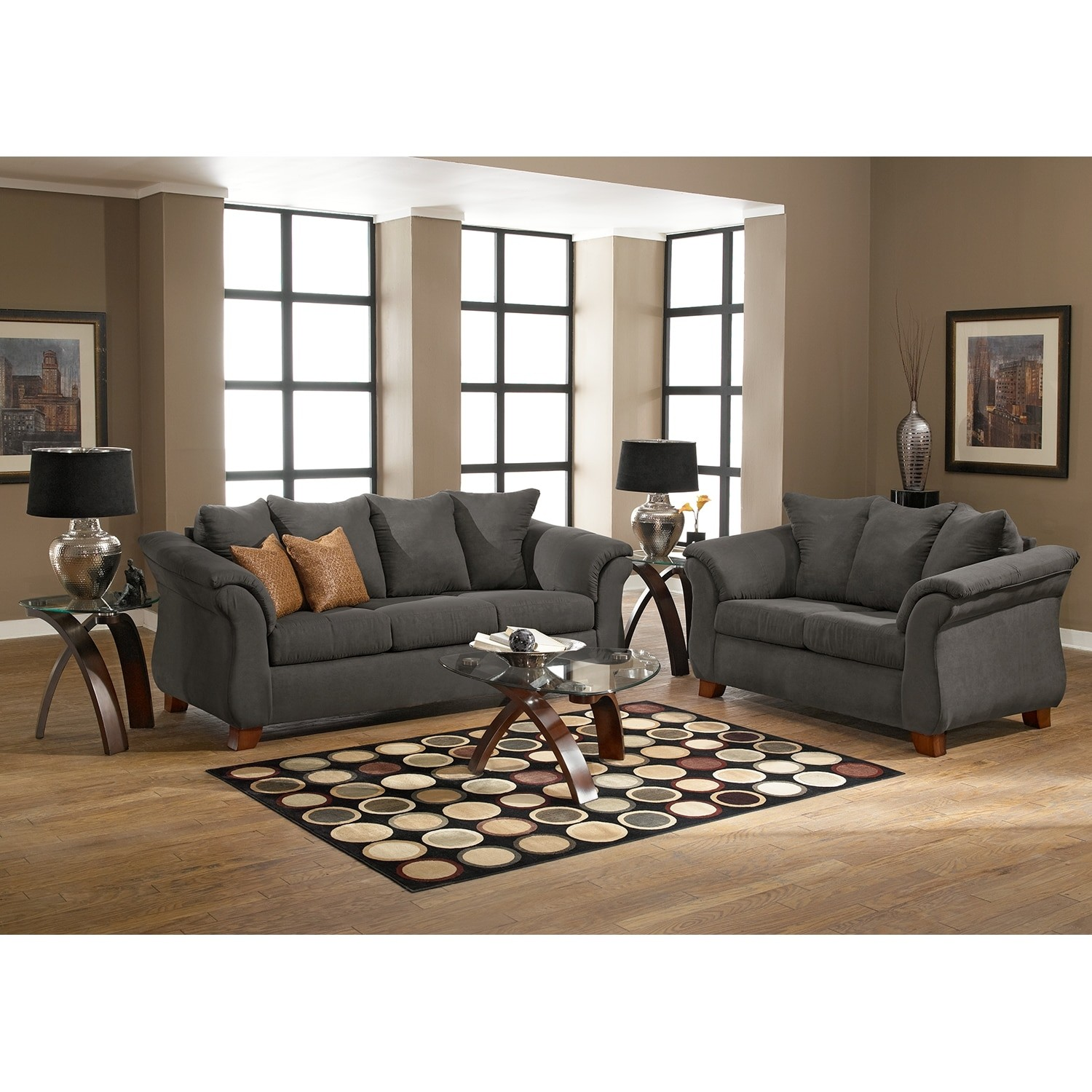 Sofa and Loveseat Incredible Adrian sofa and Loveseat Set Graphite Layout