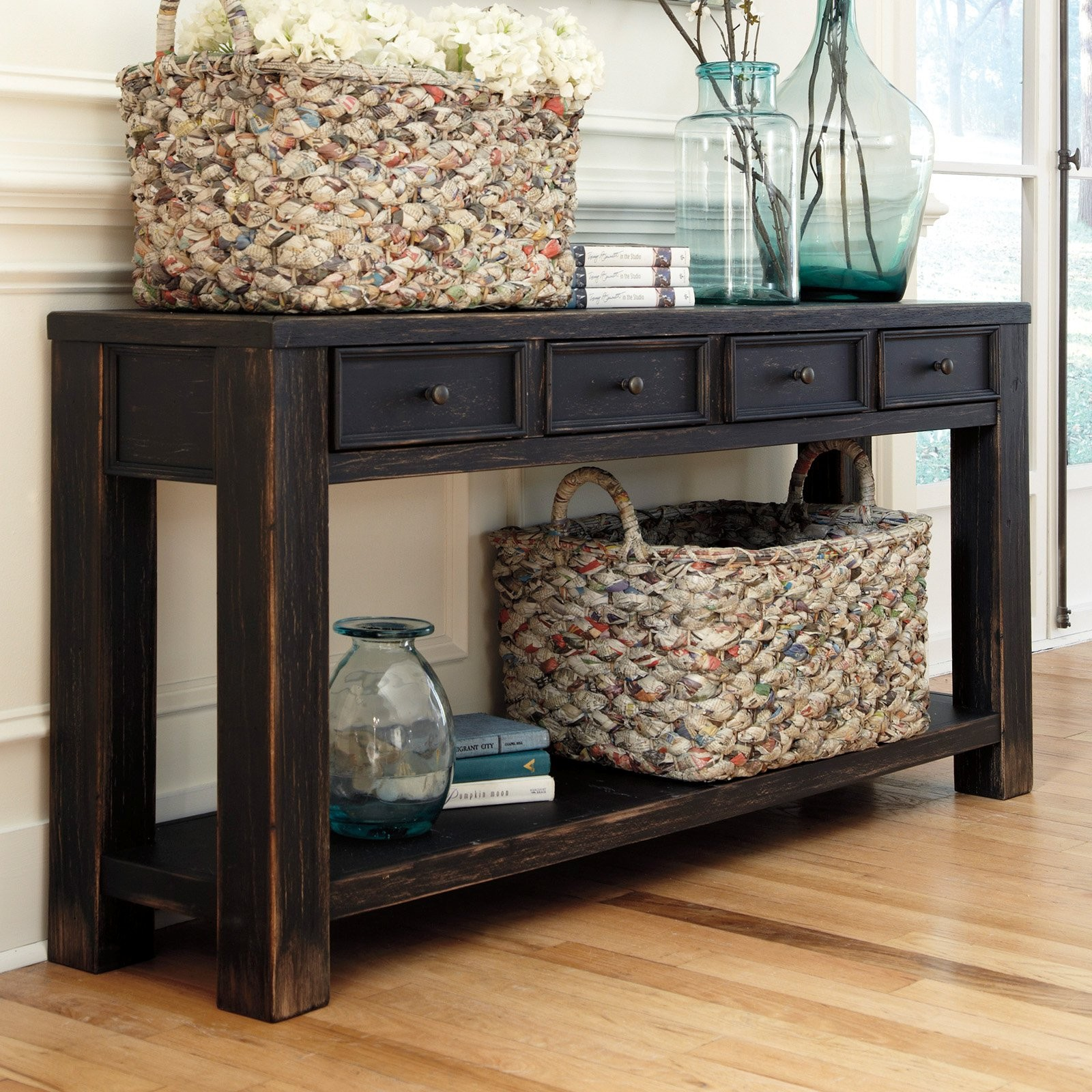 Sofa Table with Storage Fancy Signature Design by ashley Gavelston Rectangular Black sofa Table Wallpaper