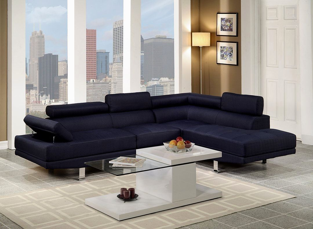 stylish navy leather sofa online-Luxury Navy Leather sofa Photo