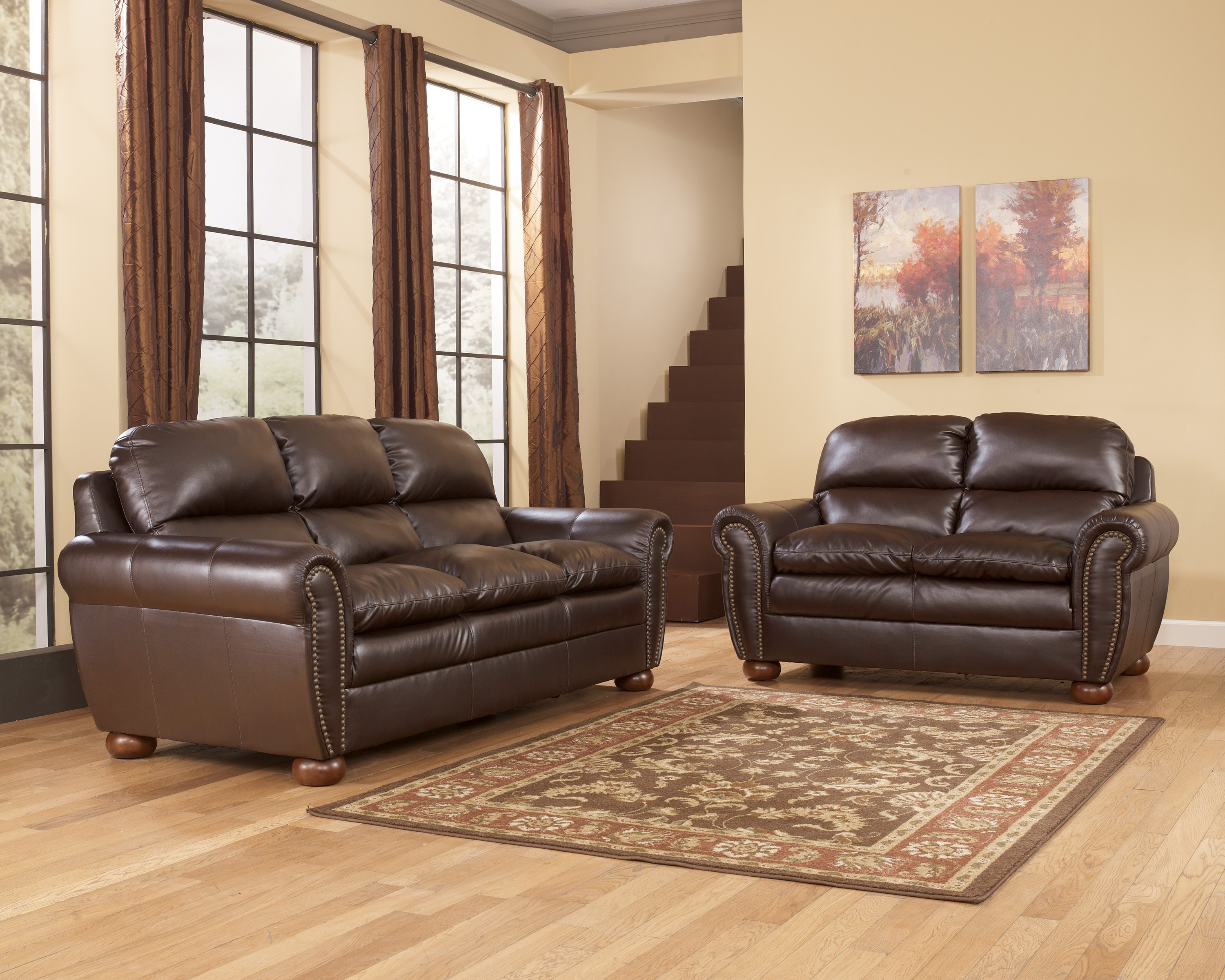 Ashley Leather sofa and Loveseat Beautiful Excellent ashley Furniture sofas for Home Design Ideas with ashley Pattern