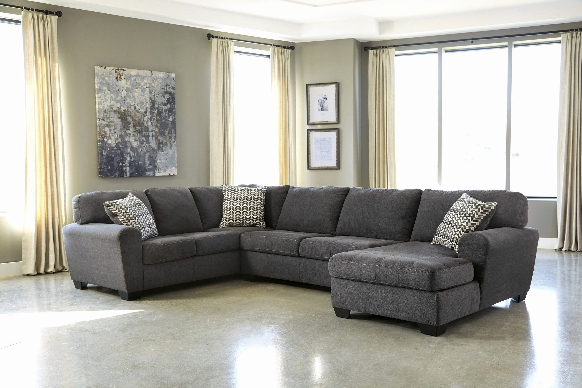 Elegant Charcoal Gray Sectional Sofa Picture