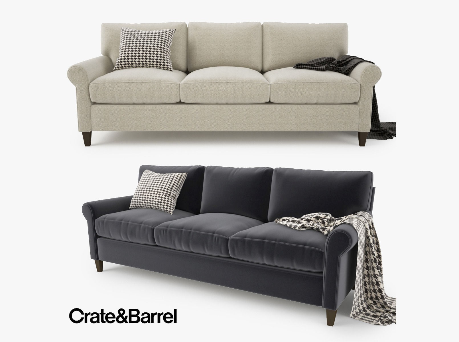 Crate and Barrel sofas New Crate and Barrel Montclair 3 Seat sofa 3d Photo