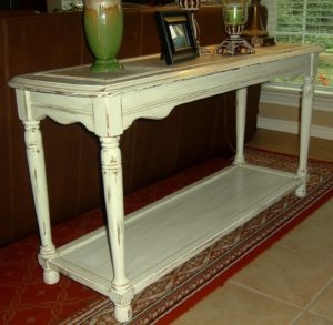 Distressed sofa Table Unique Highly Distressed Antiqued White sofa Table Facelift Furniture Ideas