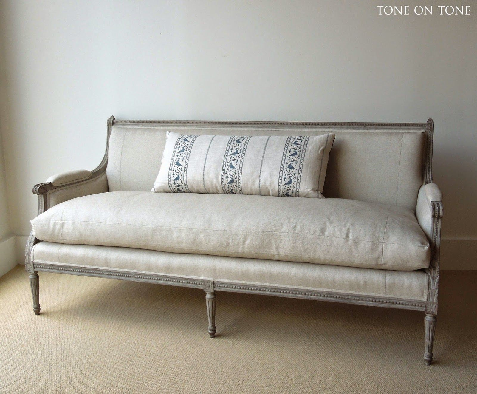 Down Filled sofa Beautiful Antique sofa Recovered In Linen with Down Filled Cushion Plan