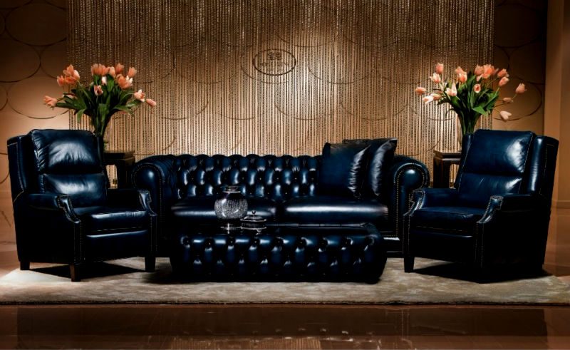 latest navy blue leather sofa model-Amazing Navy Blue Leather sofa Gallery