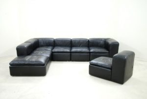 Leather Modular sofa Awesome Modular Black Cube Design Wk Leather sofa by Ernst Martin Concept