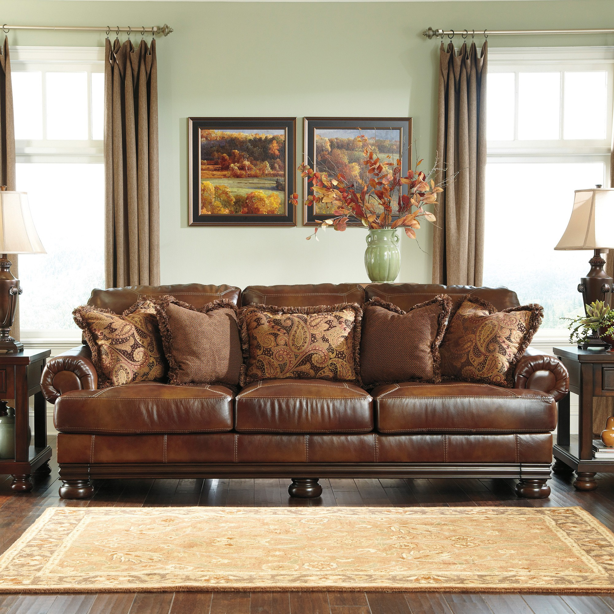 Leather sofa and Loveseat Combo Superb Signature Designs by ashley Hutcherson Harness Brown Leather Model