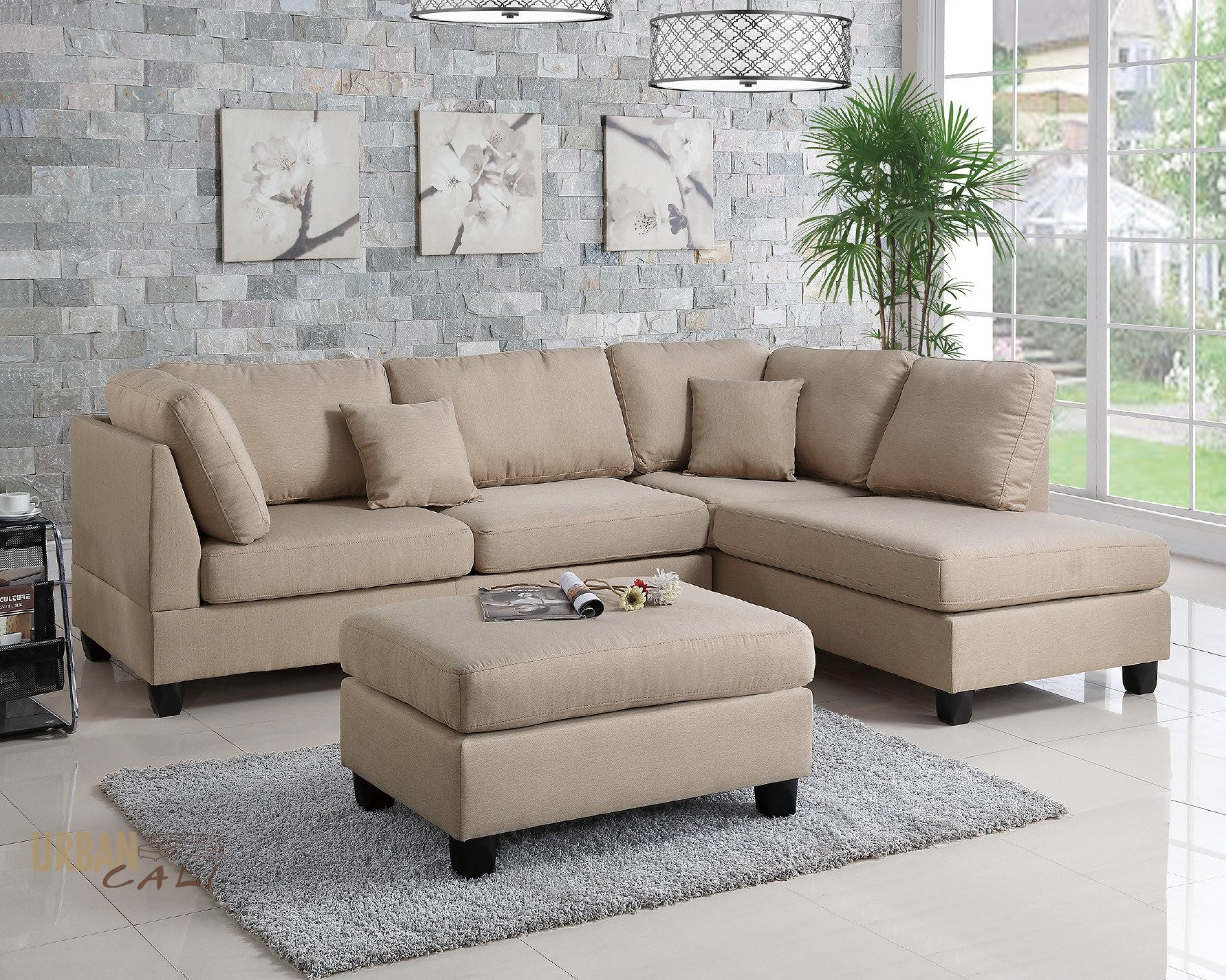 Linen Sectional sofa Fascinating Urban Cali San Francisco Sand Linen Sectional with Reversible Chaise Portrait