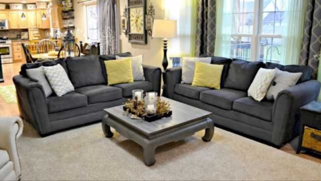 Beautiful Simmons Flannel Charcoal Sofa Concept