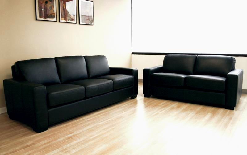 Luxury Leather Sofa Black Collection Stylish Wallpaper