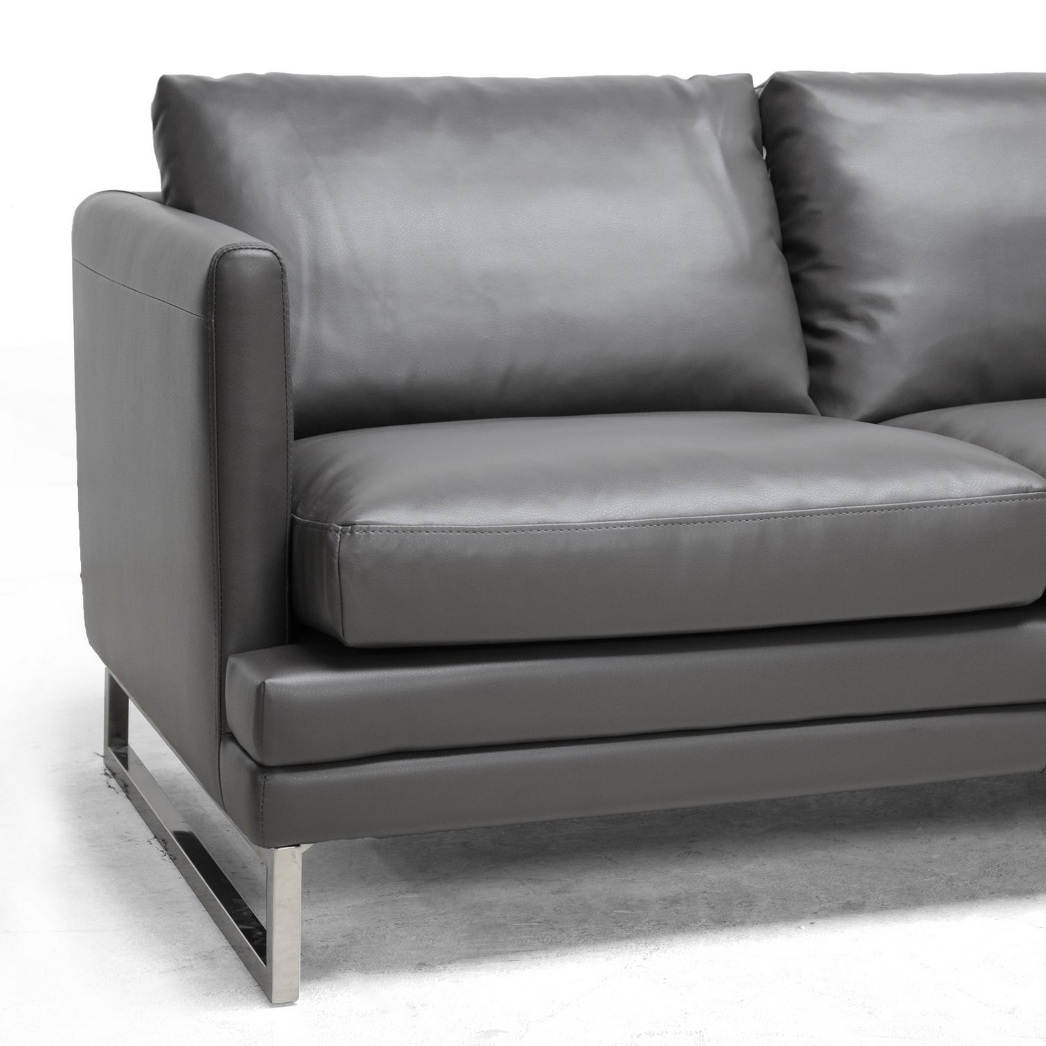 Modern Gray Leather sofa Stunning Grey Leather sofa and Loveseat Elegant Amazon Baxton Studio Gallery