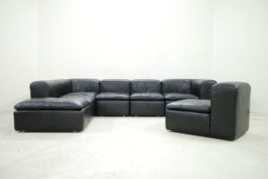 Modular Leather sofa top Modular Black Cube Design Wk Leather sofa by Ernst Martin Image