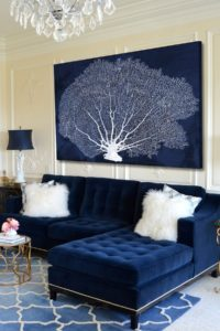 Navy Blue Velvet sofa Fascinating Stunning Living Rooms with Blue Velvet sofas Portrait