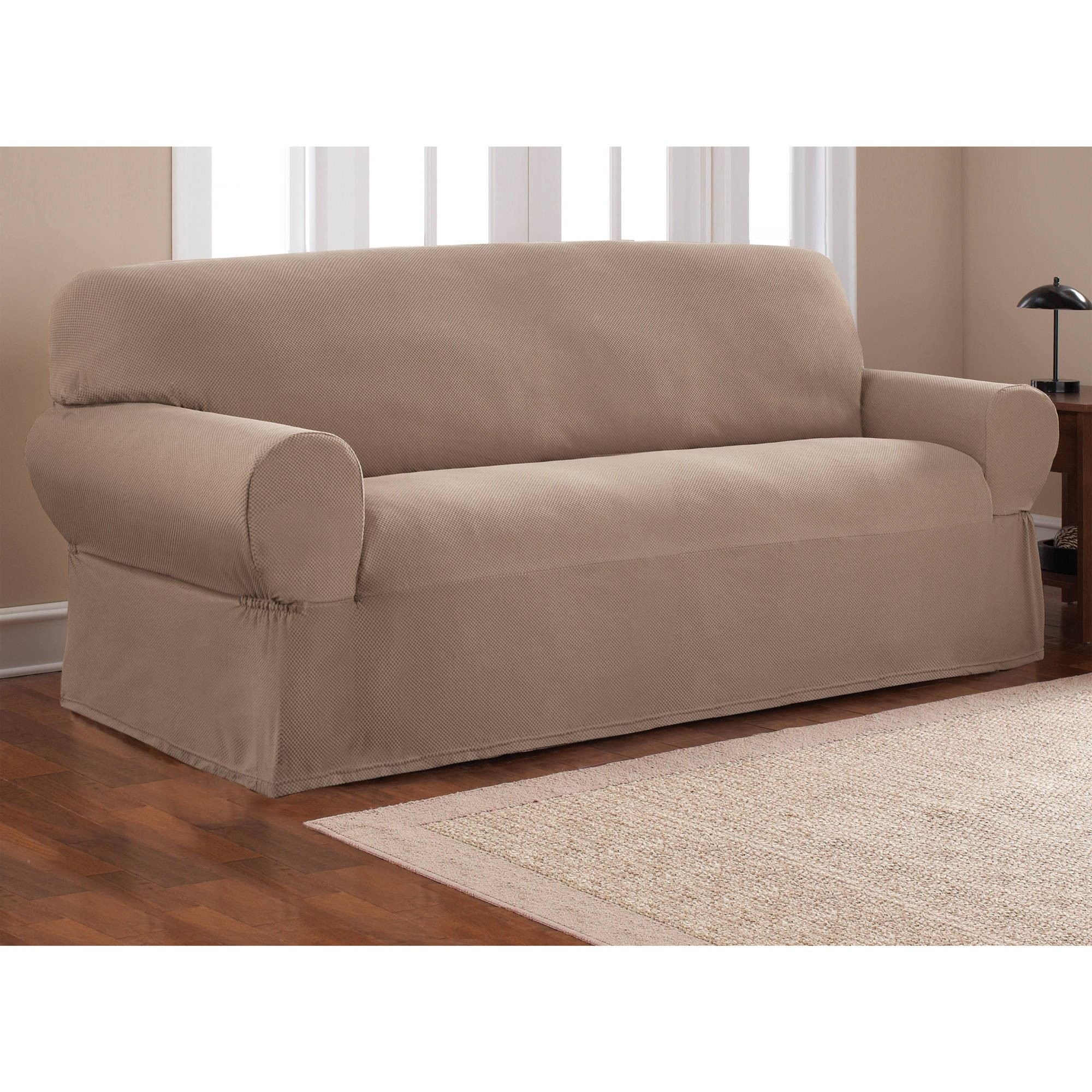 Stretch sofa Slipcover Modern Mainstays 1 Piece Stretch Fabric sofa Slipcover Walmart Concept