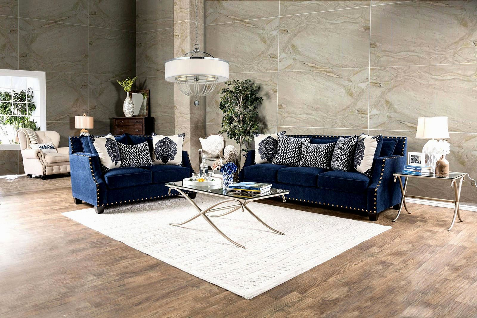 stunning navy velvet sofa image-Cute Navy Velvet sofa Layout
