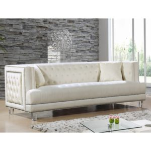 Tufted Velvet sofa Stunning Meridian Furniture Cream S Lucas Cream Tufted Velvet sofa W Design