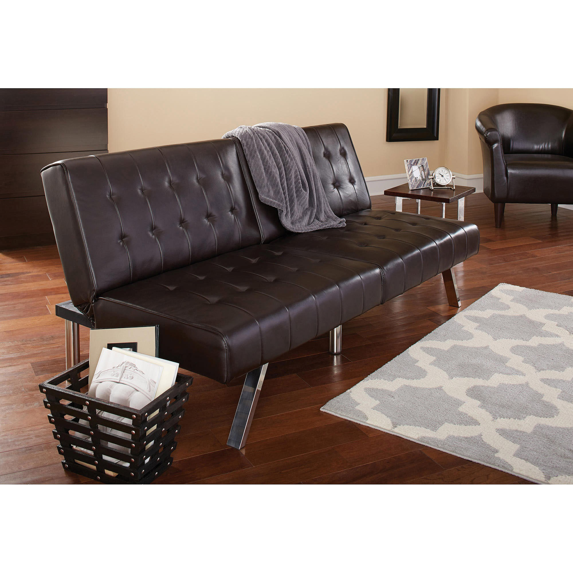 Walmart Leather sofa Luxury Mainstays Morgan Faux Leather Tufted Convertible Futon Brown Pattern