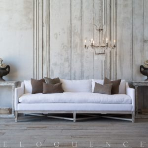 White Linen sofa Unique Eloquence Scandinavian sofa In White Linen and Worn Oak Finish Photo